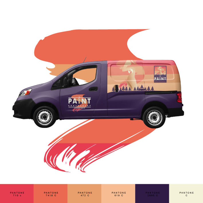The Paint Brothers Purple Business Car