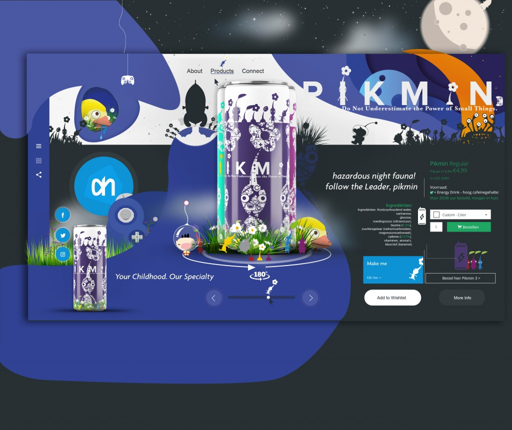 Pikmin Energy Drink: UI Design - Night Landingpage