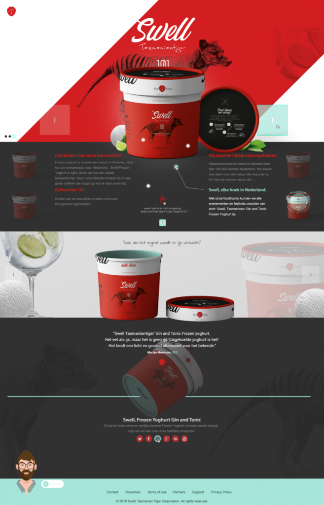 Swell Tasmaniantiger - UX / UI Webdesign Landingpage